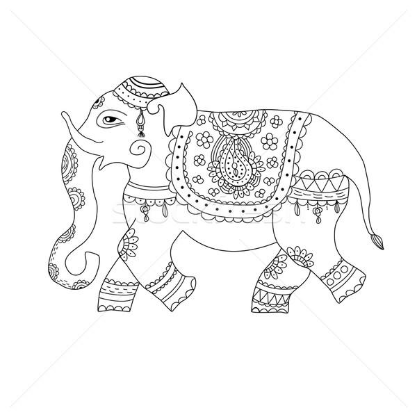 Vector illustration of elephant in ethnic style. Indian style decorated ornate elephant. Stock photo © mcherevan