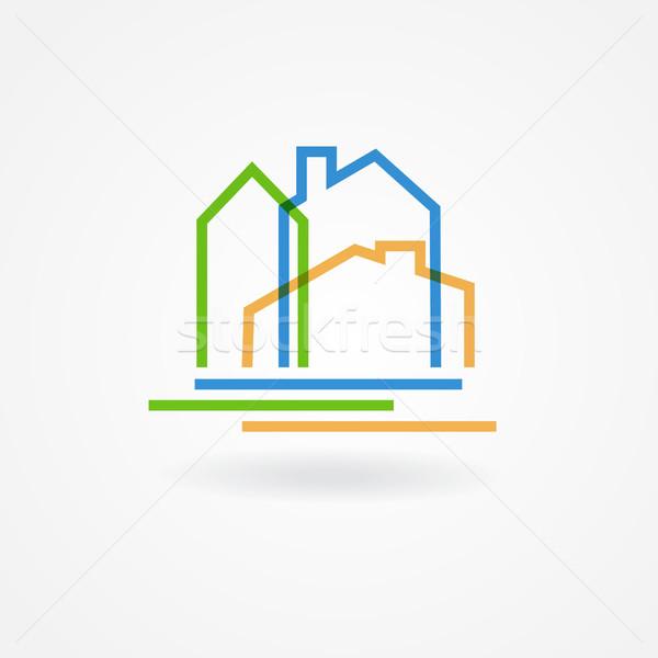 Real estate company logotype.  Vector logo design template. Houses abstract concept icon Stock photo © mcherevan