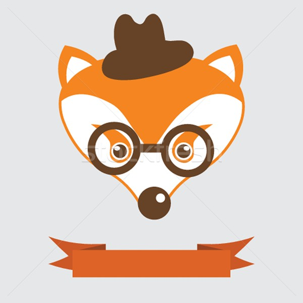 Fox in bowler hat and monocle, vintage style portrait Stock photo © mcherevan