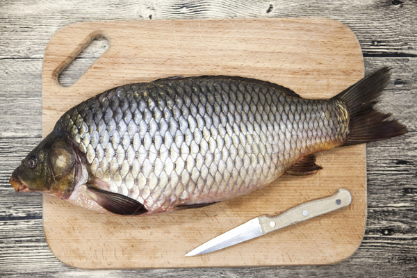A large fresh carp live fish lying on a wooden board with a knife. Stock photo © mcherevan