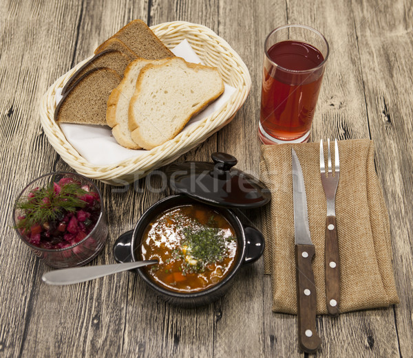 Beet  salad and tomato, red pepper soup, sauce with olive oil, rosemary and smoked paprika with fork Stock photo © mcherevan