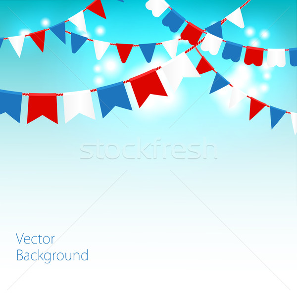 Vector illustration of Blue sky with colorful flags garlands. Stock photo © mcherevan