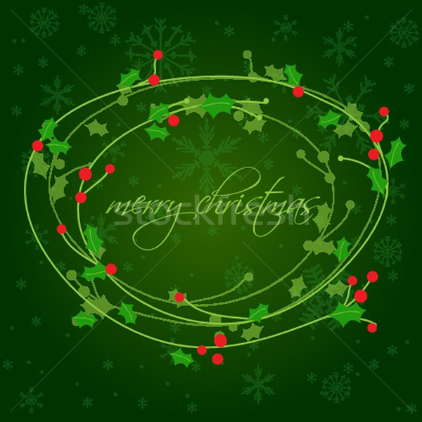 Christmas background with holly berry leaves on dark green background Stock photo © mcherevan