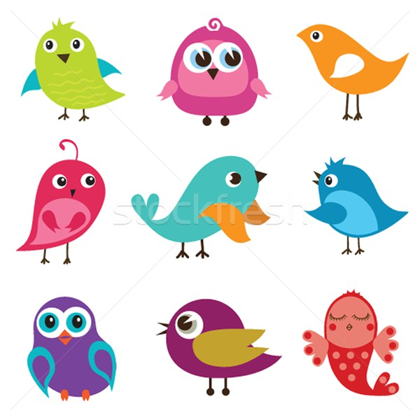 Set of different cute birds. Stock photo © mcherevan