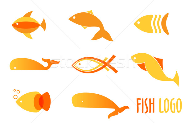 Vector illustration of warm colors golden fishes. Abstract fish logos set for seafood restaurant or  Stock photo © mcherevan