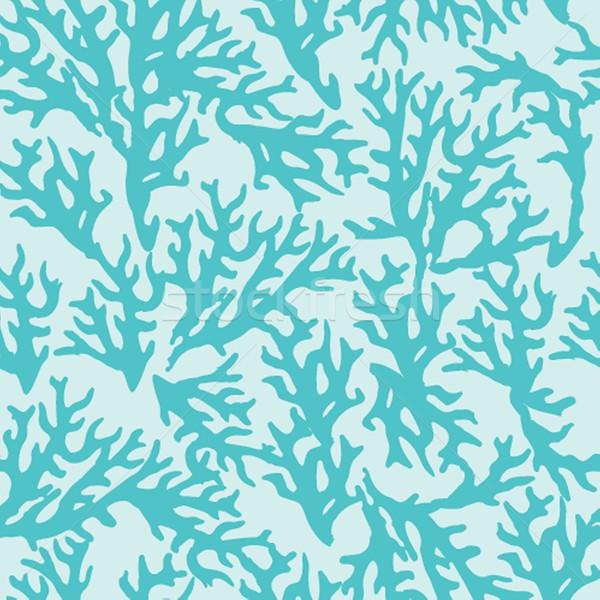 Vektor végtelen minta kék korall jó textil Stock fotó © mcherevan