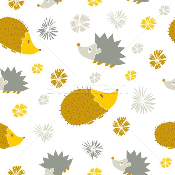 Vektor végtelen minta aranyos rajz ősz textúra Stock fotó © mcherevan