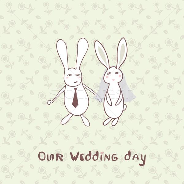 Menyasszonyi zuhany meghívó kettő aranyos nyulak Stock fotó © mcherevan