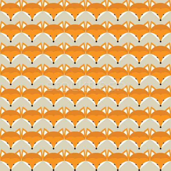 Animaux imprimer cute Fox visages Photo stock © mcherevan