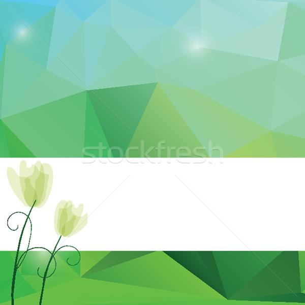 Stockfoto: Voorjaar · driehoek · patroon · groene · Blauw · kleuren