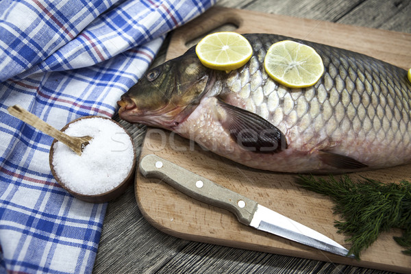 Grande fresco carpa viver peixe Foto stock © mcherevan