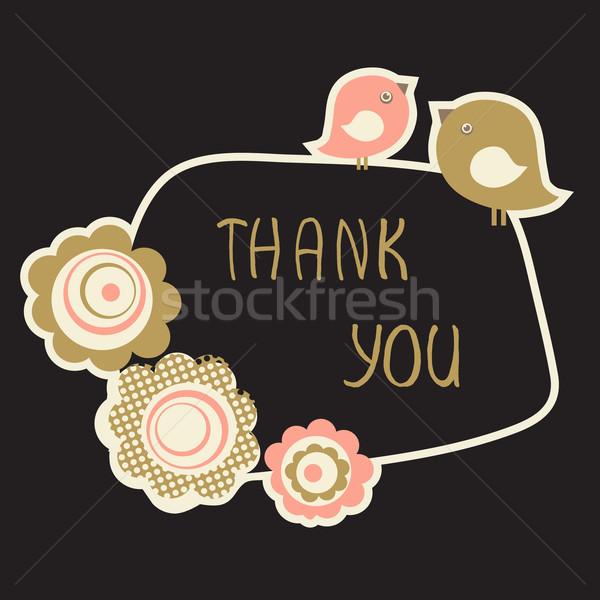 かわいい ありがとう カード 鳥 カップル 花 ストックフォト © mcherevan
