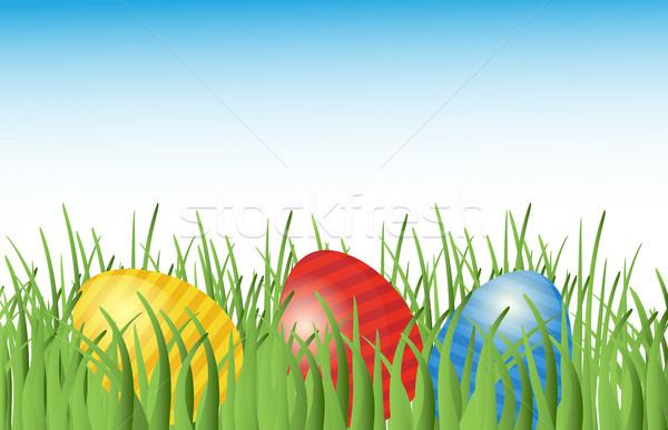 Сток-фото: пасхальных · яиц · трава · место · цветок · весны · аннотация