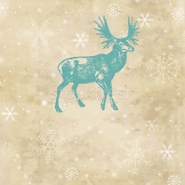 Karácsony szarvas fény terv kék fekete Stock fotó © mcherevan