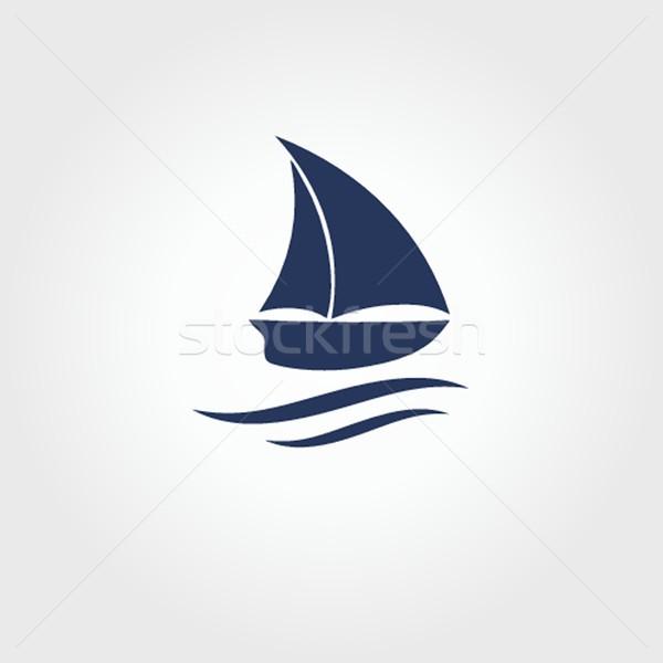Barco icono playa diseno fondo arte Foto stock © mcherevan