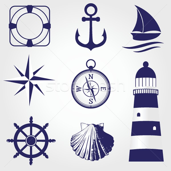 Stock photo: Set of vintage nautical labels, icons and design elements