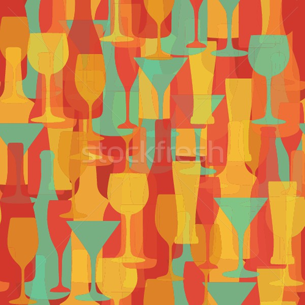 Stock photo: Alcohol Bottles and glasses seamless pattern. Beer, champagne, wine , other drinks design.