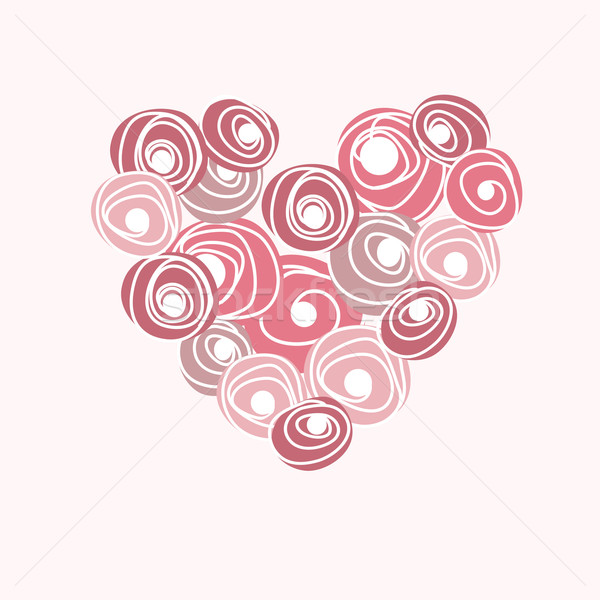 Wedding card with vector heart from roses. Cartoon floral rose heart Stock photo © mcherevan