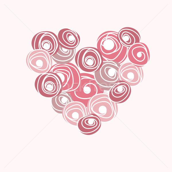 Vettore cuore rose cartoon floreale Foto d'archivio © mcherevan