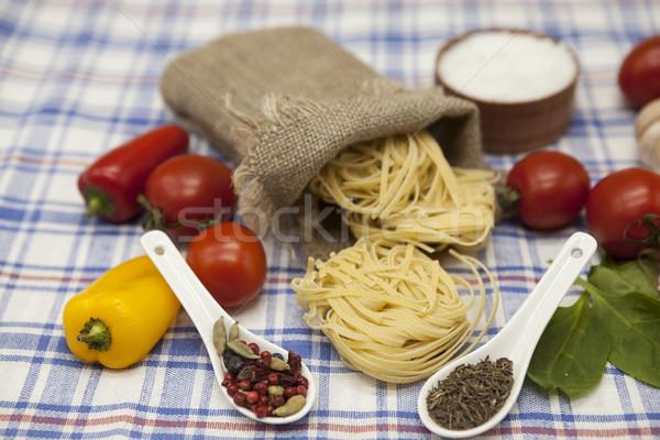 Stock photo:  Tagliatelle Italian pasta set for the creation : cherry tomatoes, olive oil, balsamic sauce, garlic