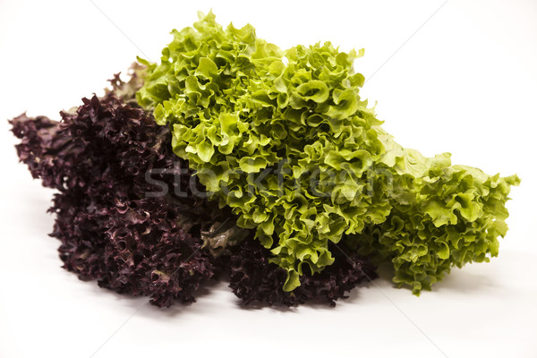 Green fresh bunch of a lollo rosso and lettuce  on a white background. The best healthy breakfast fo Stock photo © mcherevan