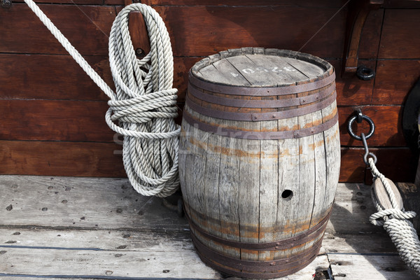 Older intricate marine ropes and old wooden barrel on deck of a ship Stock photo © mcherevan