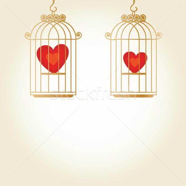 Heart in cage - vector Stock photo © mcherevan
