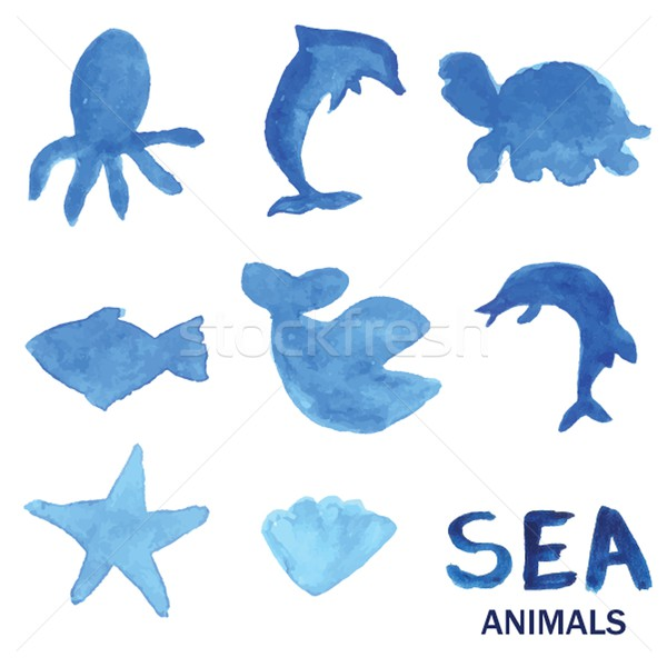 Blue hand drawn watercolor painted sea animals set. Stock photo © mcherevan