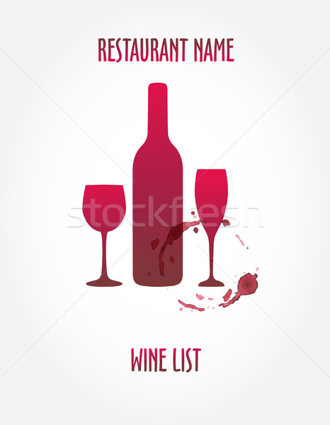 Vin liste design modèles bouteille de vin tache Photo stock © mcherevan