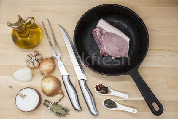 Parça lezzetli taze domuz eti Stok fotoğraf © mcherevan