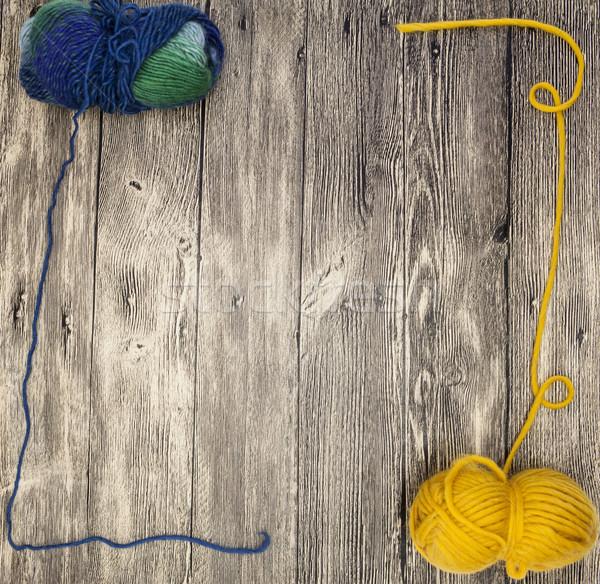 Uitstekend bal wol draad houten hand Stockfoto © mcherevan
