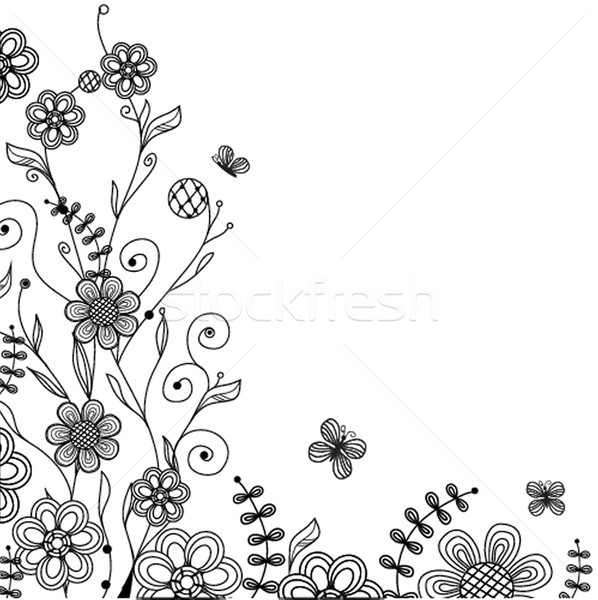 Vintage floral card with handdrawn flowers and butterflies Stock photo © mcherevan