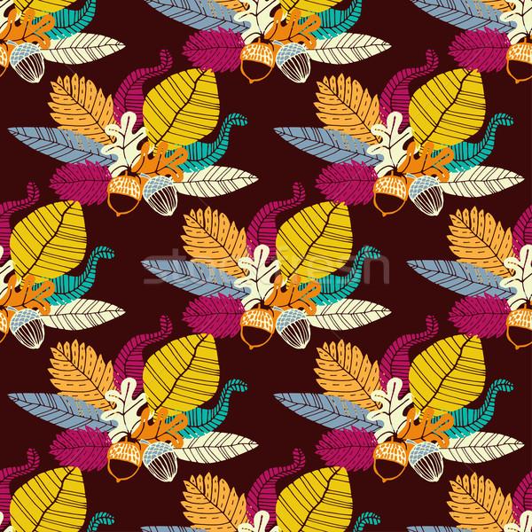 Eiken bladeren boek ontwerp Stockfoto © mcherevan