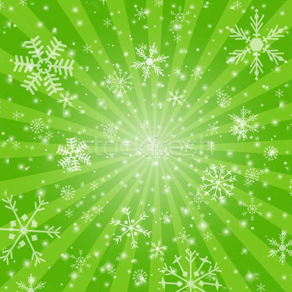 Résumé vert Noël flocon de neige design Photo stock © mcherevan
