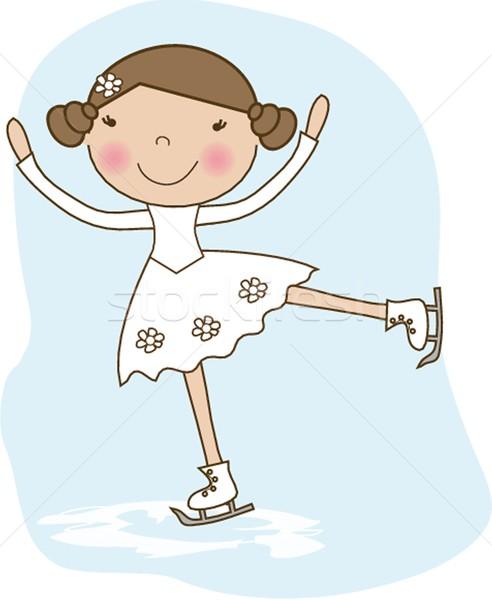 Little skater, girl skating on ice Stock photo © mcherevan
