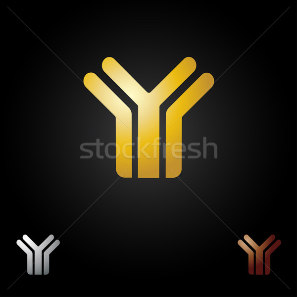 Abstract letter Y icon logo in gold color on black background Stock photo © mcherevan