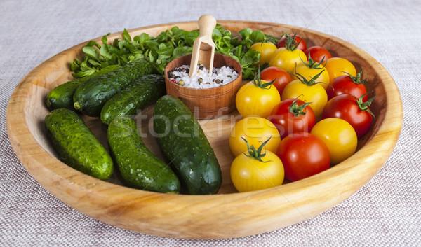Friss piros citromsárga koktélparadicsom uborkák só Stock fotó © mcherevan