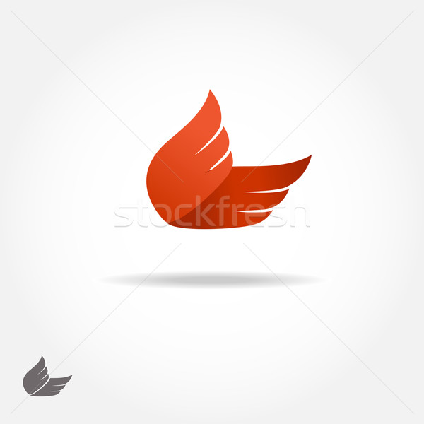ストックフォト: オレンジ · 翼 · ロゴタイプ · 単純な · ロゴ · ベクトル