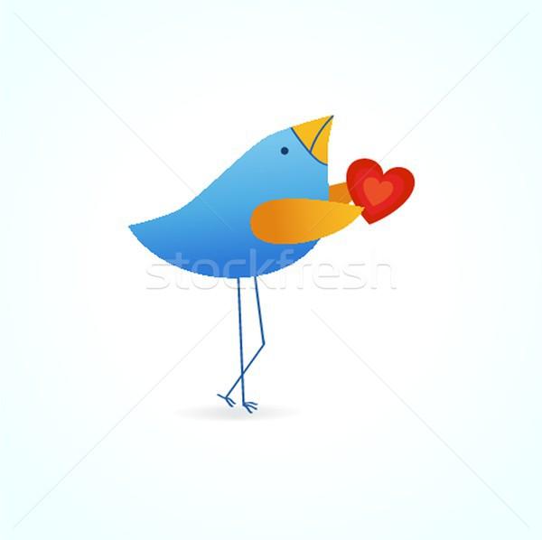 Cute azul aves amor fecha cielo Foto stock © mcherevan