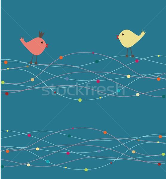 Cute Gruß Karte Vögel Swing Frau Stock foto © mcherevan