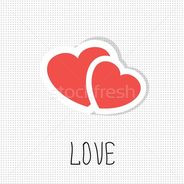 Two paper hearts. Vector card with place for text. Stock photo © mcherevan