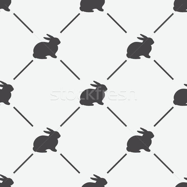 Rabbit seamless texture, endless vector illustration Stock photo © mcherevan