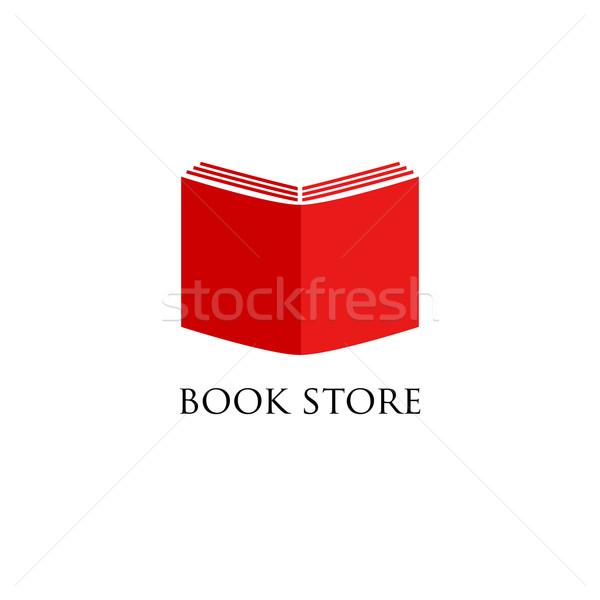 Könyvesbolt könyvtár logo felirat üzlet papír Stock fotó © mcherevan