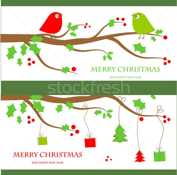 ストックフォト: クリスマス · ヴィンテージ · グリーティングカード · かわいい · 鳥 · カップル