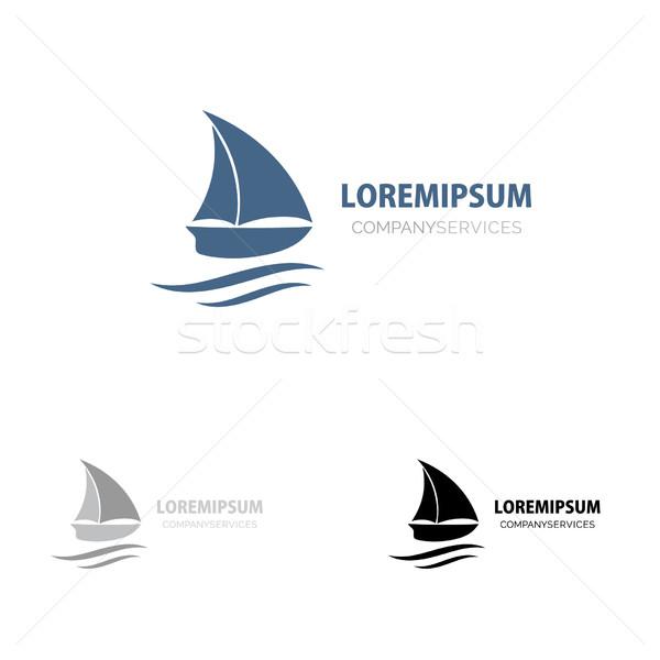 Hajó felirat kicsi kék csónak branding Stock fotó © mcherevan