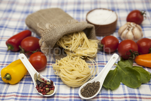 Stock photo:  Tagliatelle Italian pasta set for the creation : cherry tomatoes, olive oil, balsamic sauce, garlic