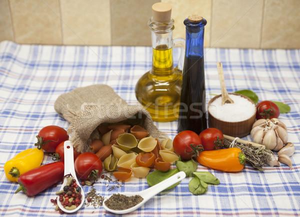 Tészta szett teremtés koktélparadicsom olívaolaj balzsam Stock fotó © mcherevan