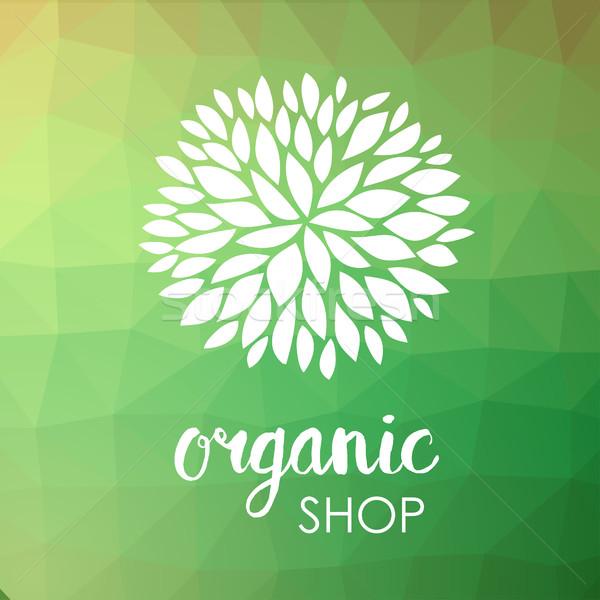Logo witte bloem laag groene driehoek Stockfoto © mcherevan