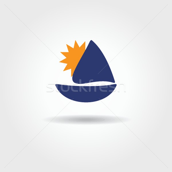 Boat and sea wave icon Stock photo © mcherevan