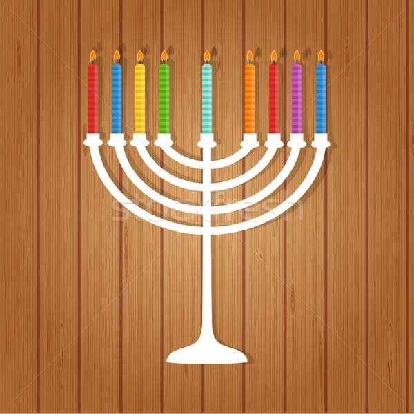 Vector illustration of hanukkah, jewish holiday. Hanukkah menora with  candles on wooden background. Stock photo © mcherevan